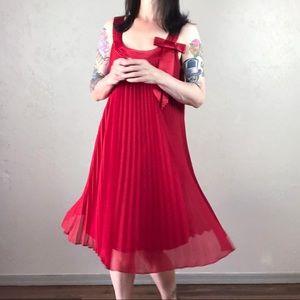 Vintage Dresses - Vintage 1980s Robbie Bee Red Chiffon Trapeze Dress